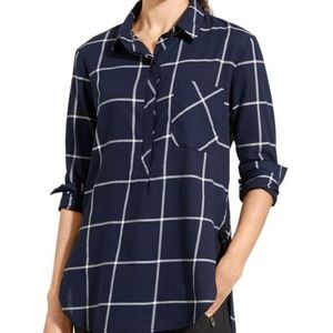 Athleta Presidio Tunic Windowpane Print Navy Med